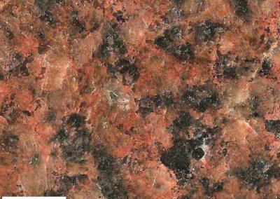 7. Detail van 6. De donkere mineralen (Vooral hoornblende) zijn deels omgezet in een donkergroenzwarte massa.
