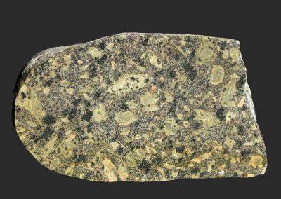 8. Vaggeryd syeniet. Als. Een opvallend, porfierische type met grote. deels rhombische veldspaten.