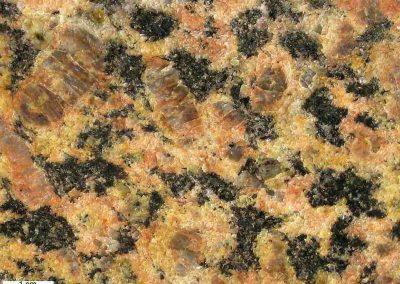 6. Detail van 5. Een steen met duidelijk minder rode plagioklaas en praktisch geen plagioklaasringen. De veldspaat is sterk gegranuleerd.
