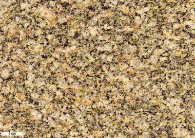 8. Detail van 7. De kleine rechthoekige kaliveldspaten zijn duidelijker en iets groter dan in onze gesteentemonsters.